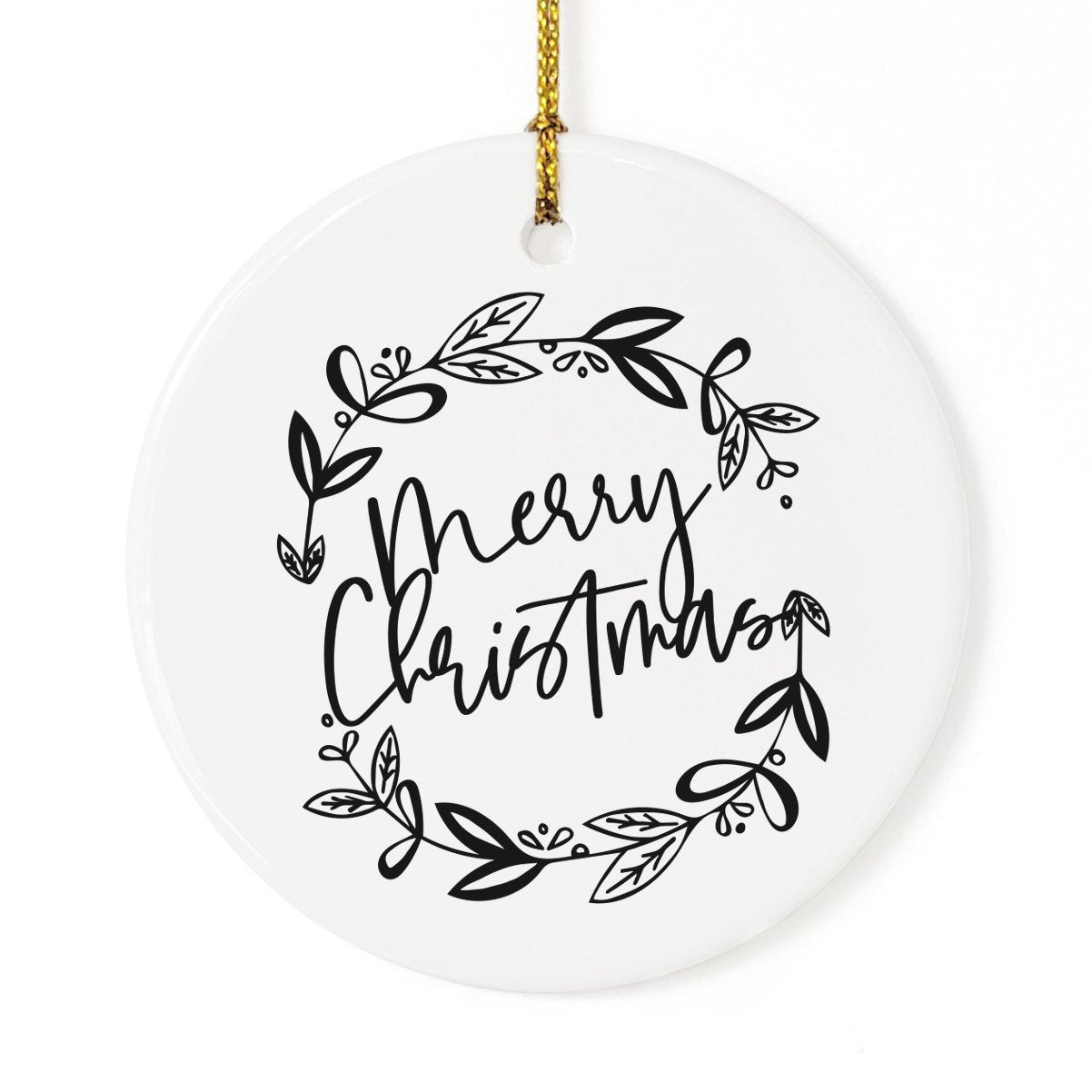 Merry Christmas with Wreath Christmas Ornament