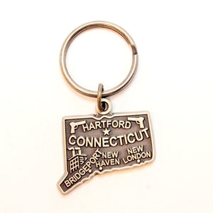Connecticut Metal Painted Keychain