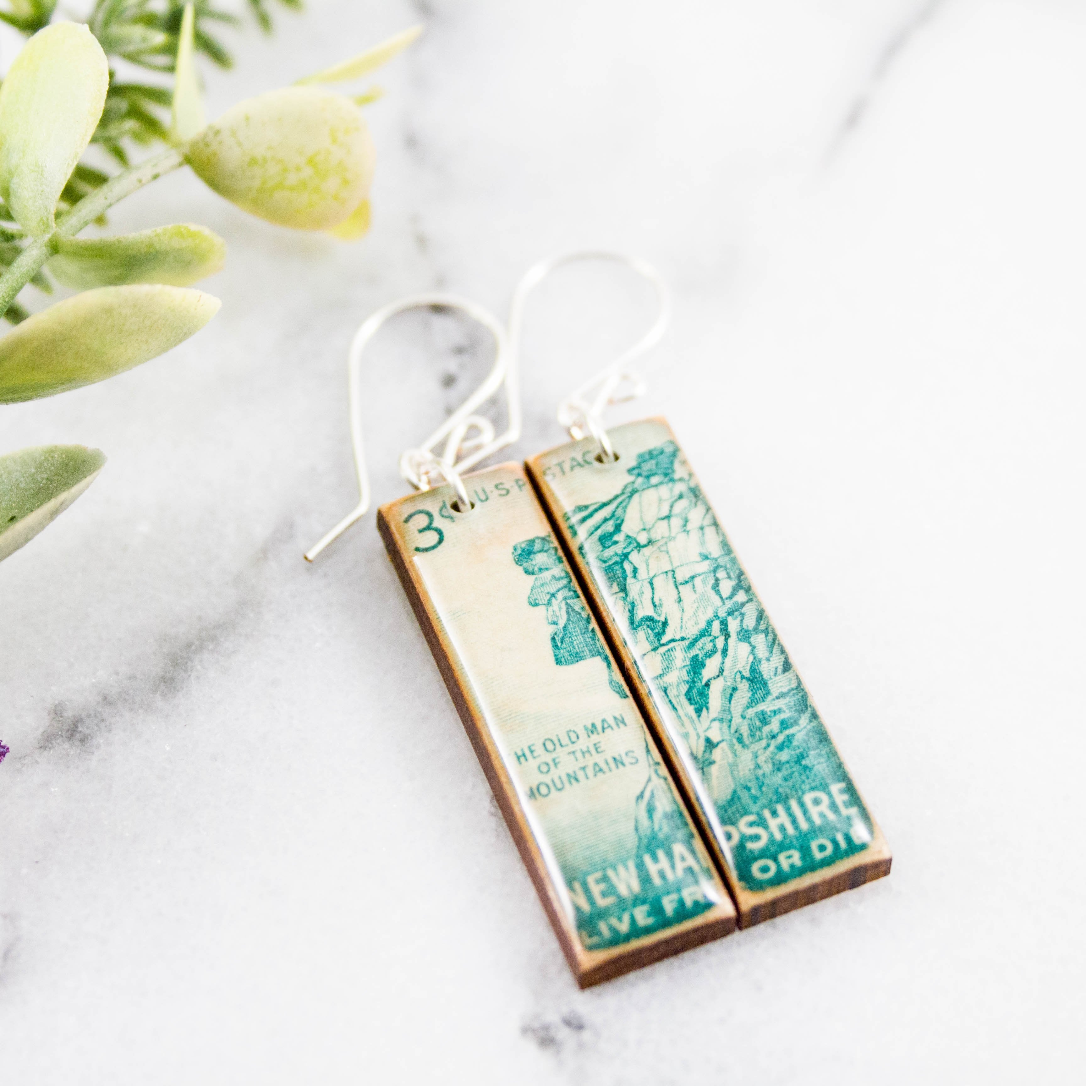 NEW HAMPSHIRE- Vintage Postage Stamp Earrings