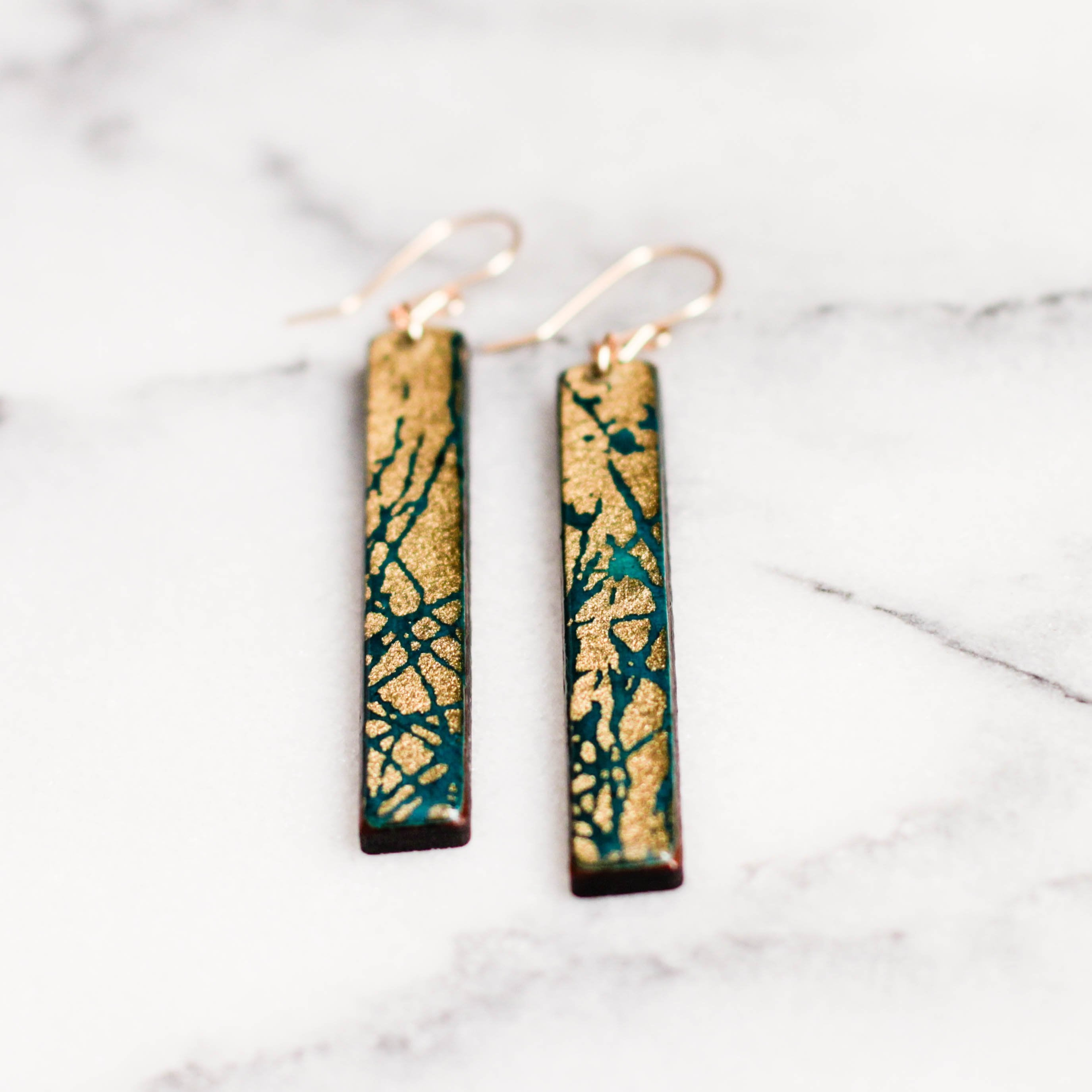 Peacock Blue + Gold Bar Earrings