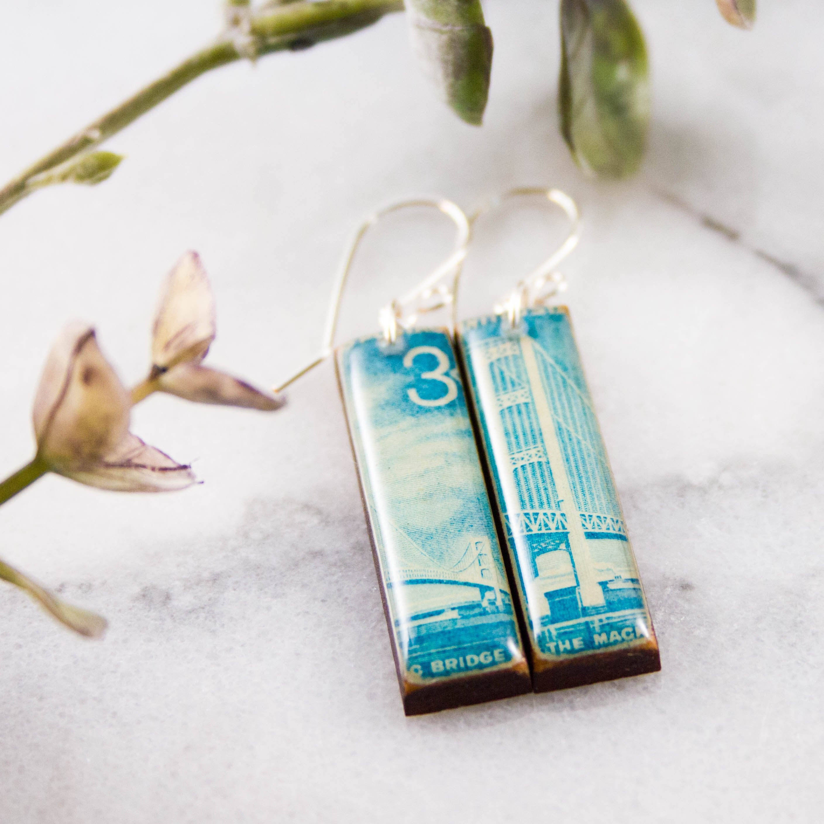 MICHIGAN- Mackinac Bridge Vintage Postage Stamp Earrings