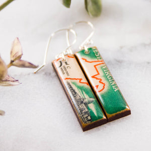 WEST VIRGINIA- Vintage Postage Stamp Earrings