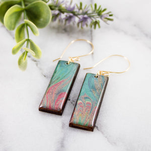 Pastel Marble Rectangle Earrings