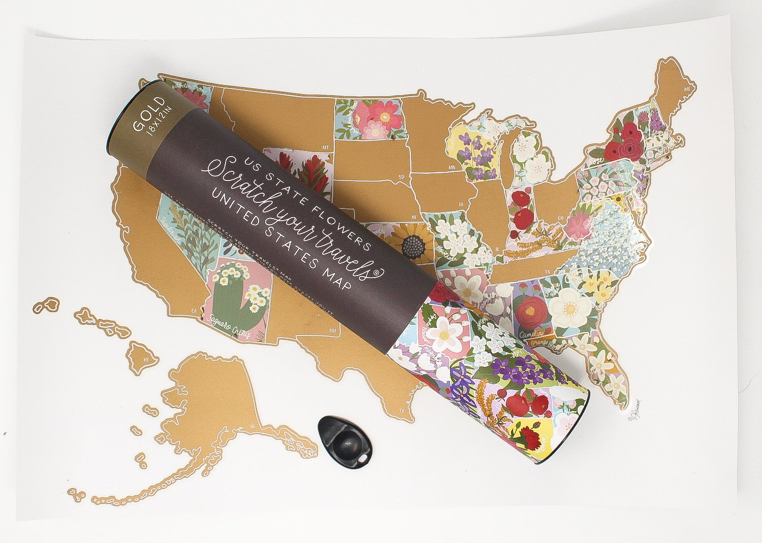 Scratch Your Travels® US State Flowers Map