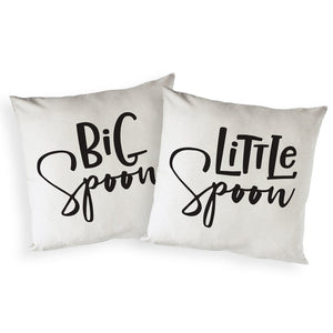 Big Spoon and Little Spoon Cotton Canvas Pillow Covers, 2-Pack