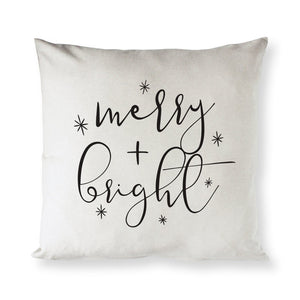Merry and Bright Cotton Canvas Christmas Holiday Pillow Cover