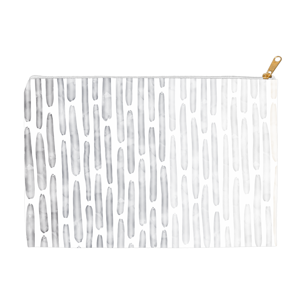 Watercolor Stripes Pouch - Cool Neutral