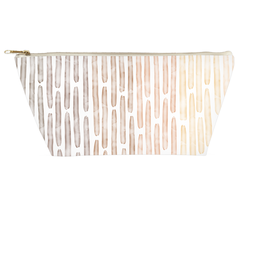 Watercolor Stripes Pouch - Warm Neutral