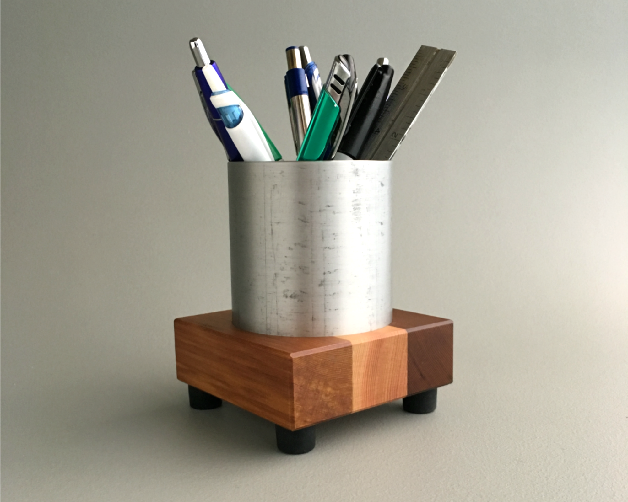 Modern Pen Cup in Recycled Metal and Reclaimed Wood