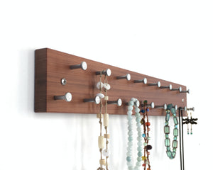 Necklace Rack, Display, Organizer in Solid Wood with Natural Finish