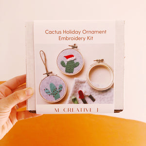 DIY Beginner Cactus Holiday Ornament Embroidery Kit