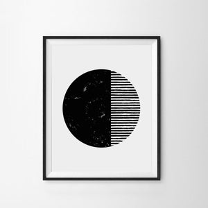 Black and White Circle Art Print