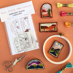 DIY Embroidery Pattern. Peel Stick and Stitch Landscape Designs