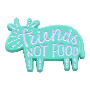 """Friends Not Food"" Vegan / Vegetarian Pride Pin"