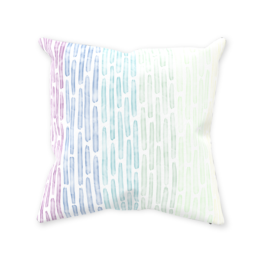 Watercolor Stripes Throw Pillow - Cool