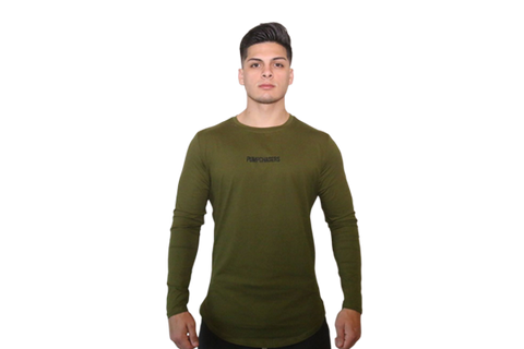 Scooped Bottom Long Sleeve: Green