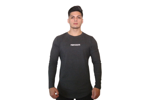 Scooped Bottom Long Sleeve: Dark Gray