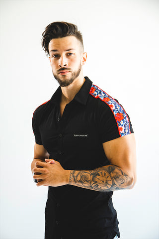 Men's Black Rose Button Up