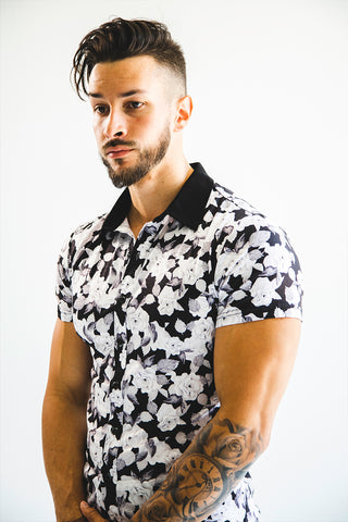 Men's White Rose Button Up
