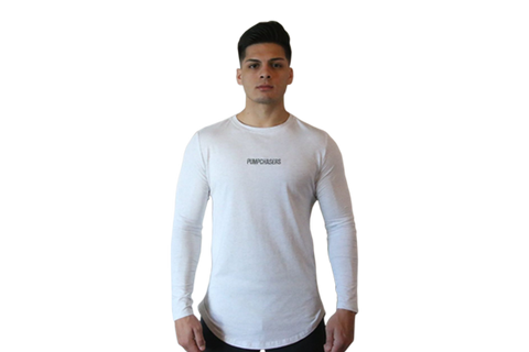 Scooped Bottom Long Sleeve: Cement White