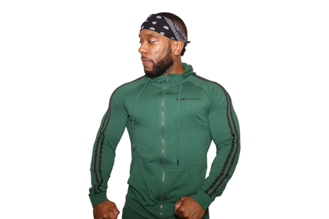 Zip Up Jacket: Green (with Black stripes)