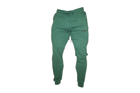 Men's Track Style Joggers: Green (with Black stripes)