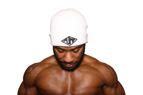 Pump Chasers Beanie: White with Black logo