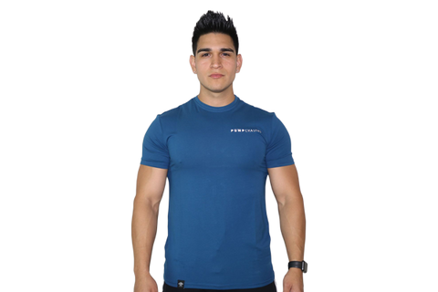 Men's Premium Tee: Ocean Blue (with White Logo)