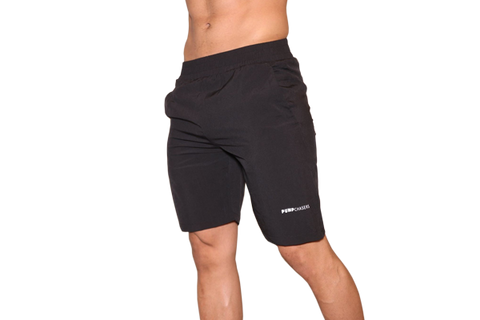 Men's Shorts: Black(with White Logo)