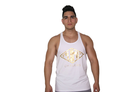 Stringer Tank: White (with Gold logo)