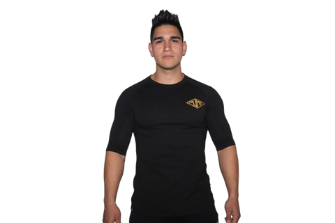 Men's 3/4 Sleeve: Black (with Gold Logo)