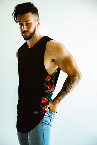 Men's Black Floral Cut Off