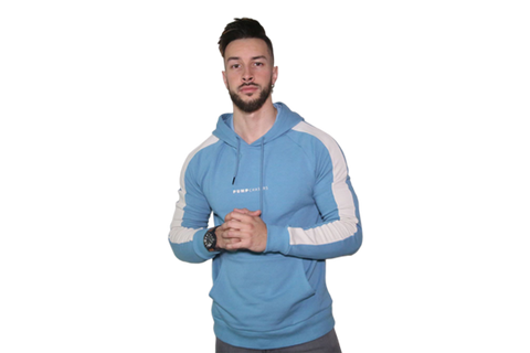 Men's 3D Hoodie: Light Blue (with Solid White Stripe)