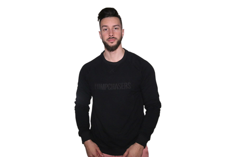 Men's 3D Crew Neck: Black (with Black Letters)
