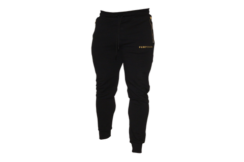 Men's Track Style Joggers: Black (with GOLD zippers and letters)