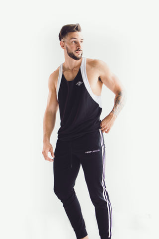 Men's Track Style Joggers: Black (with White stripes)