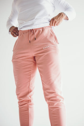 Men's 3D Joggers: Salmon (with Solid White stripe)