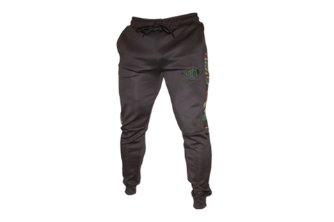 Performance Joggers: Black (with GREEN Camo Pattern On The Side)