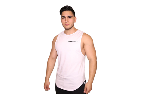 41516876cc661e Mens Cut Off Shirt  White (with Black Logo) – Pump Chasers Clothing