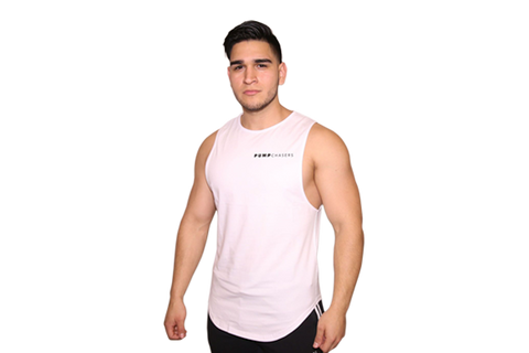 Mens Cut Off Shirt: White (with Black Logo)