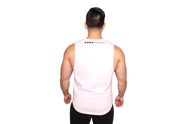 f3bbb4f86dc858 Mens Cut Off Shirt  White (with Black Logo) – Pump Chasers Clothing