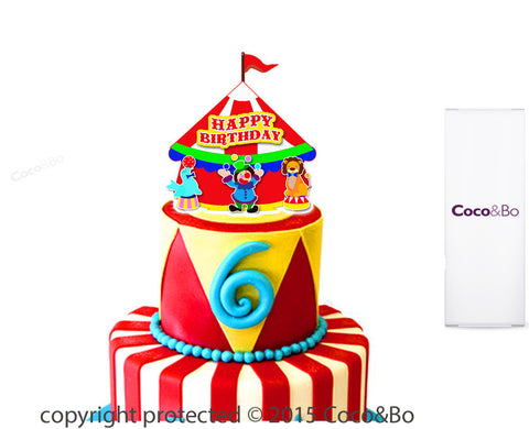 Circus Big Top Happy Birthday Cake Topper