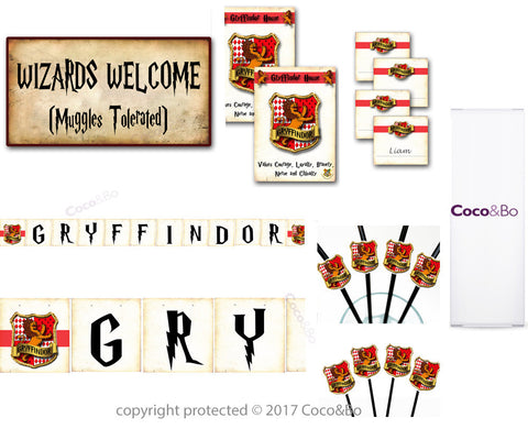 Platinum - Gryffindor House - Room Decoration Party Pack