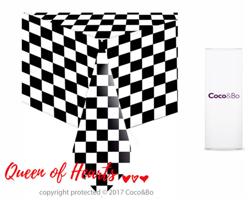 Queen of Hearts Black & White Check Table Cover