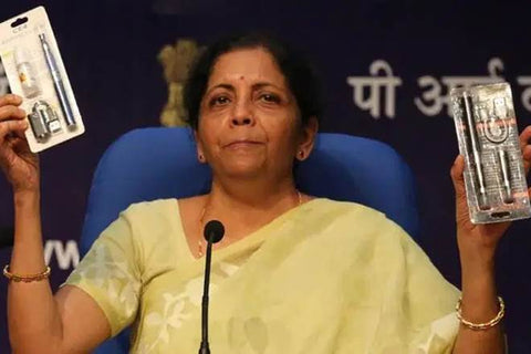 Sitharaman at Press Conference announcing ban