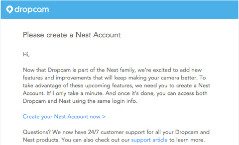 Dropcam email nest account
