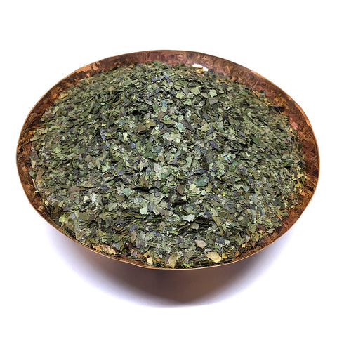 Bowl of Guayusa tea - crushed leaves