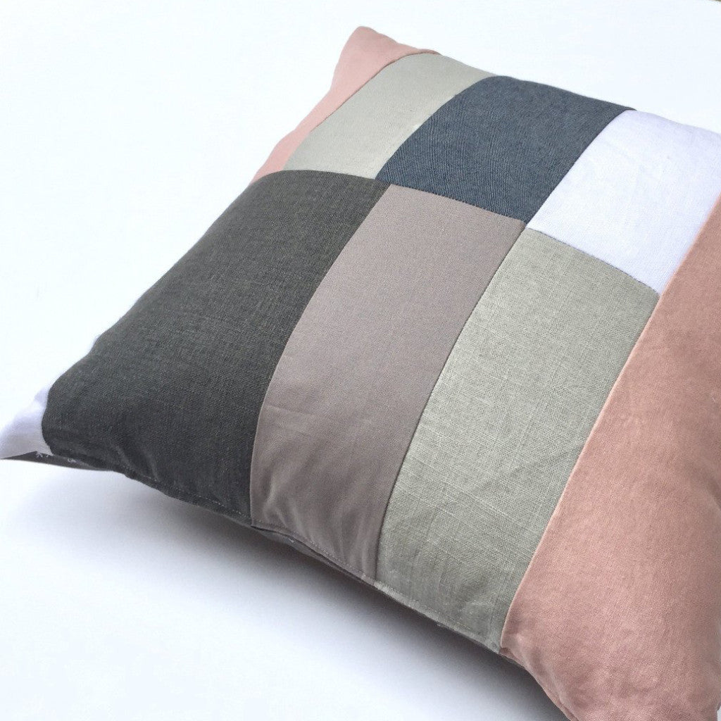 Modern Patchwork Pillow : Tangerine Kisses Throw Pillow - Fritz and Sparrow