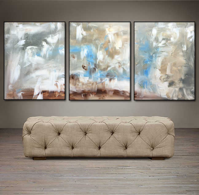'Day Dream'  - gray, white, blue and brown triptych 48