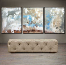 "'Day Dream'  - gray, white, blue and brown triptych 48"" X 20"" Original Abstract Paintings."